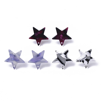 Cellulose Acetate(Resin) Stud Earring Findings, with 316 Surgical Stainless Steel Pin, Star, Mixed Color, 16.5x17x2.5mm, Hole: 1.2mm, Pin: 0.6mm