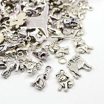 Pendentifs chiot en alliage de style tibétain, breloques de chien, mixedstyle, argent antique, 15~47x8~34x1~13mm, Trou: 1~2mm