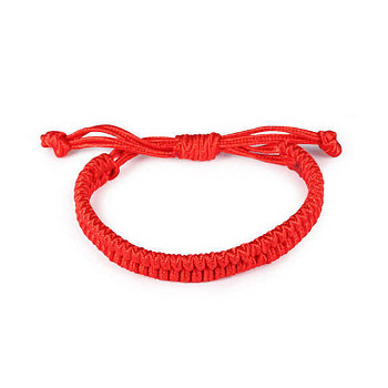 Adjustable Waxed Cord Braided Bracelets, Red String Bracelets, Red, 6 inches~7-7/8 inches(150~200mm); 9~12mm