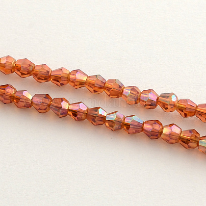 Electroplate Glass Bead Strands, Rainbow Plated, Faceted Bicone, OrangeRed, 3x3.5mm, Hole: 1mm; 150pcs/strand, 18inches EGLA-R094-3mm-11