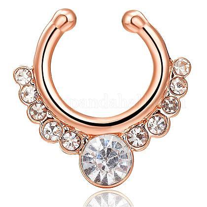 Personality Brass Cubic Zirconia Nose Studs Nose Piercing JewelryAJEW-EE0002-001G-01-1