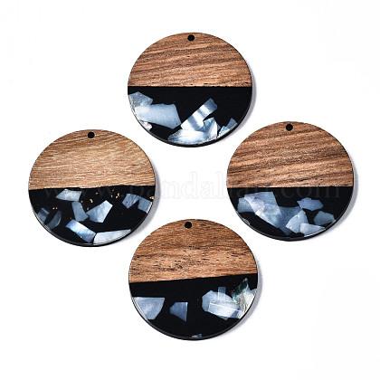 不透明な樹脂とクルミ材のペンダント  シェルチップ付き  ツートン  フラットラウンド  ブラック  38.5x3.5mm  穴:2mmRESI-T035-24-B01-1
