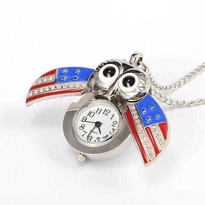 フクロウの合金クォーツ懐中時計WACH-N039-17P-1