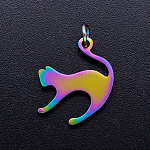 201 Stainless Steel Kitten Pendants, with Jump Rings, Cat with Arched Back Shape, Rainbow, Multi-color, 17.5x14.5x1mm, Jump Ring: 5x0.8mm, Inner Diameter: 3mm