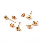 Golden Color Brass Post Earring Findings, with Loop, 15x6mm, Hole: 1mm; Ball: 4mm; Pin: 0.8mm