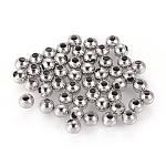 Abalorios de 304 acero inoxidable, redondo, color acero inoxidable, 3x3mm, agujero: 1 mm
