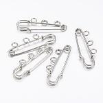 Iron Brooch Findings, with Three Holes, Kilt Needles, Platinum, 15x38x5mm, Hole: 2.7mm