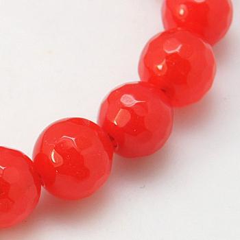 Chapelets de perles de jade teintes naturelles, facette, ronde, 12mm, trou: 1mm; environ 31 pcs/chapelet, 14.5