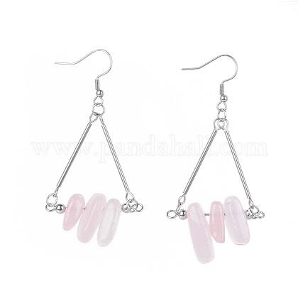Natural Rose Quartz Dangle EarringsEJEW-JE04007-03-1