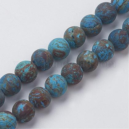 Crisocola naturales hebras de perlas rerondaG-G969-6mm-1