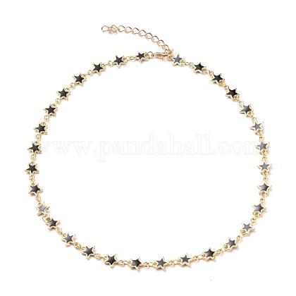 Collane con catena a maglia a stella smaltata in legaX-NJEW-JN03176-1