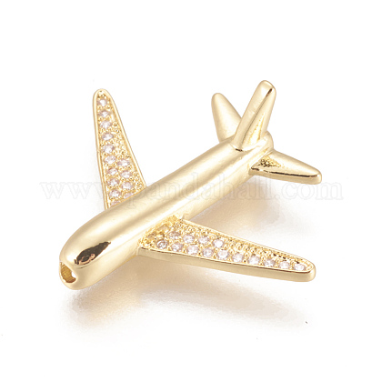 Environmental Brass Micro Pave Cubic Zirconia Airliner BeadsZIRC-L078-005G-NR-1