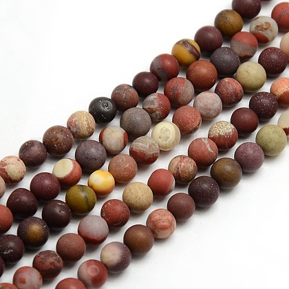 Chapelets de perles en mokaite naturel rondes dépoliesG-M064-6mm-11-1