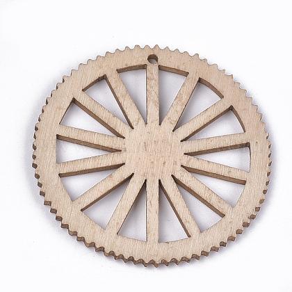 Окрашенные деревянные большие кулоныWOOD-T016-10A-1