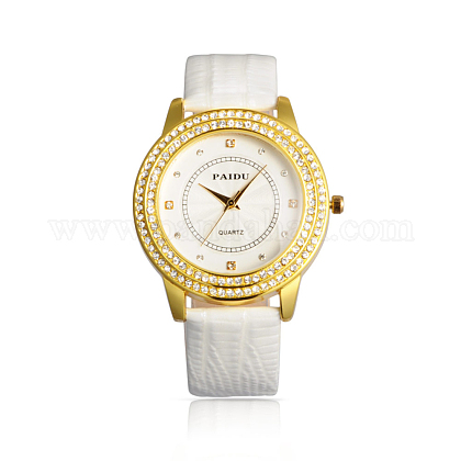 V Day Gifts High Quality Stainless Steel Leather Diamond-studded Quartz WatchesWACH-N003-06-1