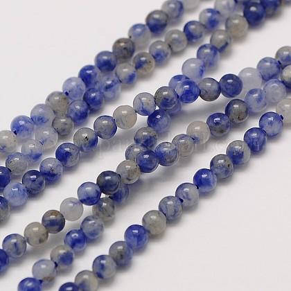 天然宝石ブルースポットジャスパーラウンドビーズ連売りG-A130-3mm-21-1