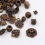 Tibetan Style Collection, Mixed Shapes Beads & Alloy Pendants, Mixed Size, Red Copper, 2~50mm