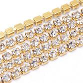 Cadenas de strass Diamante de imitación de bronce, cadenas de la taza del Rhinestone, sin chapar, sin níquel, cristal, 2mm, aproximamente 10 yardas / paquete