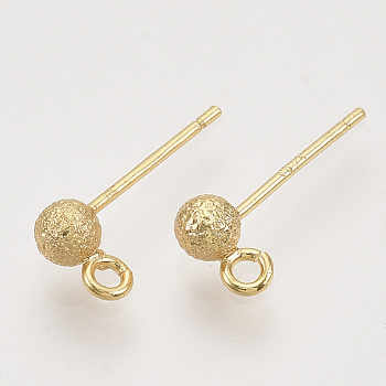 Brass Ball Stud Earring Findings, Nickel Free, with Loop, Real 18K Gold Plated, Textured, 14.5x3.5mm, Hole: 1.2mm, Pin: 0.8mm