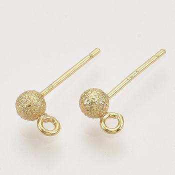 Fornituras de aretes de bola, sin níquel, con bucle, real 18k chapado en oro, textura, 14.5x3.5mm, agujero: 1.2 mm, pin: 0.8 mm