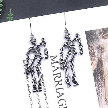 Серьги в стиле панк-рок, человеческий скелет, металлический черный, 60x16 мм