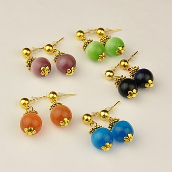 Tibetan Style Dangle Ear Studs, with Cat Eye Beads, Brass Ball Post Ear Studs and Plastic Earring Ear Nuts, Mixed Color, 27mm, Pin: 1mm