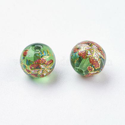 Fleur photo perles de verre impriméGLAA-E399-8mm-B05-1