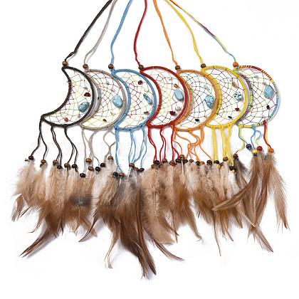 Chicken Feather Handmade Woven Net/Web with Feather Big PendantsAJEW-S080-006-1