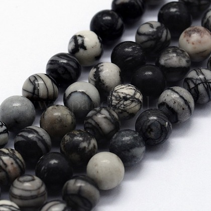 Natural Black Silk Stone/Netstone Beads StrandsG-I199-11-10mm-1