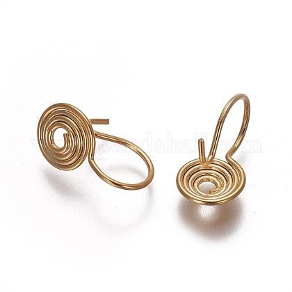 Brass Clip-on EarringsEJEW-F196-05G-1