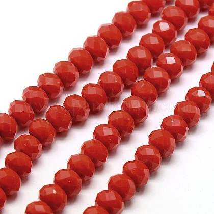 Opaque Solid Color Crystal Glass Rondelle Beads Strands EGLA-F046A-18-1
