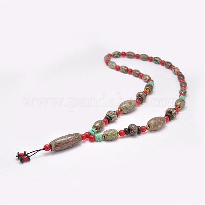 仏教アクセサリー天然石チベット瑪瑙ビーズネックレスNJEW-F131-08-1