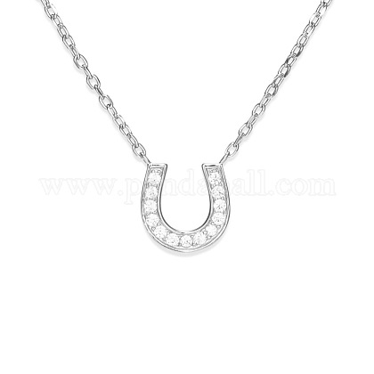 TINYSAND® 925 Sterling Silver CZ Rhinestone Letter U Initial Pendant Necklaces TS-N210-S-1