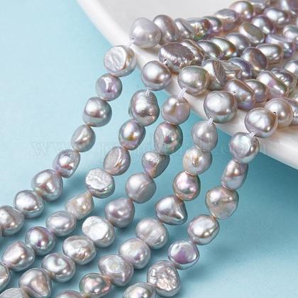 Hebras de perlas de agua dulce cultivadas naturalesPEAR-R064-24-1