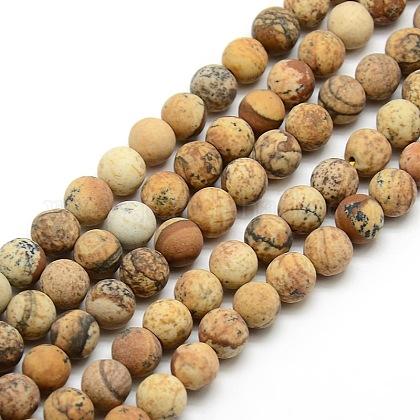 Chapelets de perles rondes en jaspe mat avec image naturelleG-M064-6mm-05-1