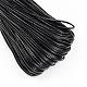 PU Leather Cord, Imitation Leather Cord, Flat, Black, 2x1mm; about 95m/bundle
