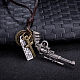 Adjustable Men's Zinc Alloy Pendant and Leather Cord Lariat NecklacesNJEW-BB16008-A-2