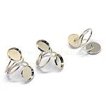 Ajustes del anillo de la almohadilla de hierro, plano y redondo, tamaño de 7, color plateado, Bandeja: 12 mm; 17.5 mm