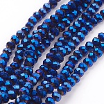 Electroplate Glass Beads Strands, Faceted, Rondelle, Blue Plated, 4x3mm, Hole: 1mm; about 140~145pcs/strand, 18.9 inches