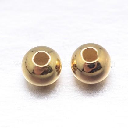 Vraies perles d'espacement rondes en argent sterling plaqué 18k or véritableSTER-M103-04-3.5mm-G-1