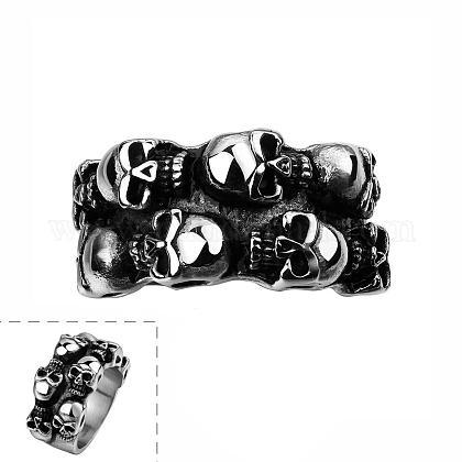 Punk Rock Style 316L Stainless Steel Skull Rings for MenRJEW-BB06587-10-1