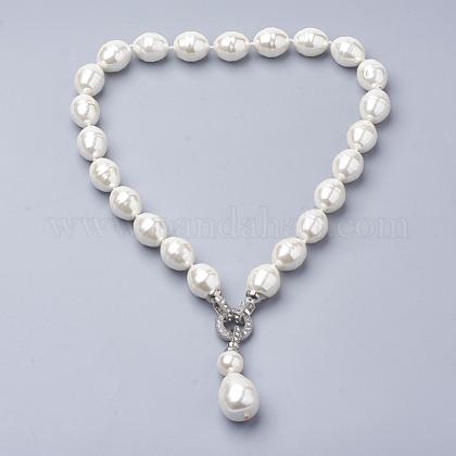 Collares de perlas de concha sintéticaNJEW-Q310-02A-1
