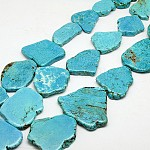 Nuggets Natural Howlite Beads Strands, Dyed, 29~55x23~58x5~8mm, Hole: 1mm; 16.5
