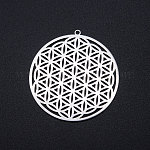 201 Stainless Steel Filigree Charms, Flower of Life, Stainless Steel Color, 42x40x1mm, Hole: 1.6mm