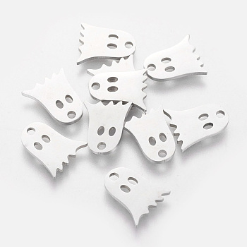 304 Stainless Steel Charms, Ghost, Stainless Steel Color, 11.8x10.1mm