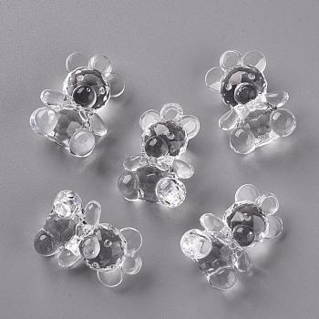 透明なアクリルパーツ  多面カット  クマ  透明  35x25x16mm  穴:4mm、約103個/500g