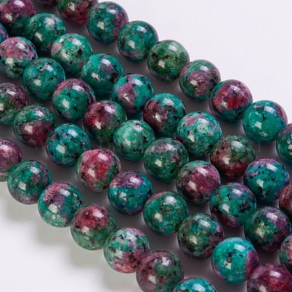 Synthetic Ruby in Zoisite Beads Strands G-K254-05-8mm-1