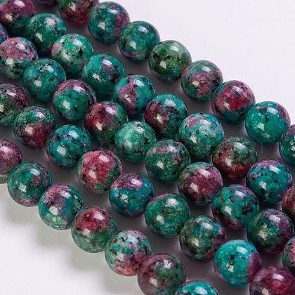 Rubí sintético en hilos de perlas de zoisitaG-K254-05-8mm-1