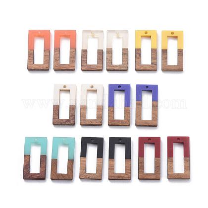 Colgantes de resina y madera de nogal de 8 coloresRESI-X0001-33-1