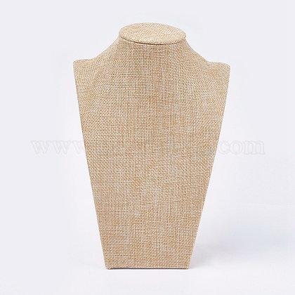 Wooden Covered with Imitation Burlap Necklace DisplaysNDIS-K001-B14-1
